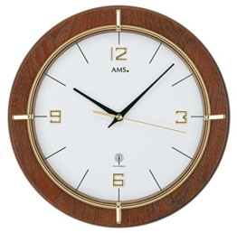 AMS 5832 Wanduhr Funk Modern Holz Nussbaum - 1