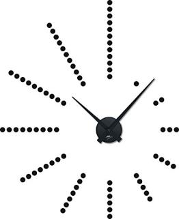 Wandtattoo Uhr Wanduhr Retro stylische Dots Punkte Wohnzimmer mit Uhrwerk (Uhrwerk schwarz//070 schwarz) - 1