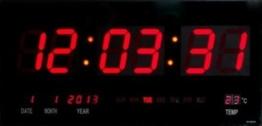 Große LED Uhr Wanduhr Datum Temperatur Anzeige Digital Datum Bar Cafe - 1