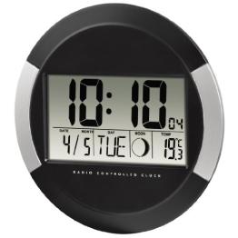 Hama Digitale Wanduhr PP-245 (Funkuhr mit Thermometer, Zeitzoneneinstellung, Kalender und Mondphase) schwarz - 1