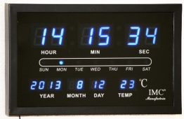 LED - Wanduhr mit Datum & Temperaturanzeige blau - LED-Uhr - 1