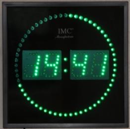 LED - Wanduhr mit grünen Zahlen + runde Sekundenanzeige - LED-Uhr - 1