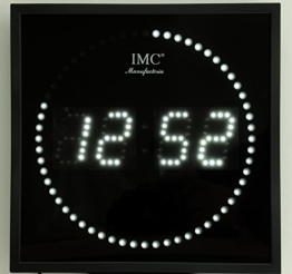 LED - Wanduhr mit weißen Zahlen + runde Sekundenanzeige - LED-Uhr - 1