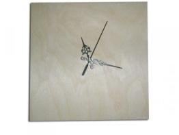 schlichte Wanduhr quadratisch zum Selbstgestalten, Holz unbehandelt - 1