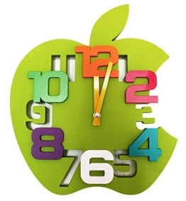 3D Design Wanduhr Küchenuhr Baduhr Bürouhr Wanddeko Kinderzimmer Apfel (Grün) - 1