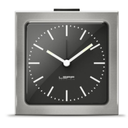 alarm clock block stainless steel black index by LEFF amsterdam - 1