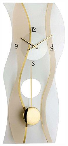 ams 7347 wanduhr glas modern pendel. Black Bedroom Furniture Sets. Home Design Ideas