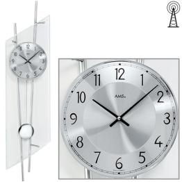 AMS Wanduhr 5200 Funk mit Pendel Mineralglas mit silberlackerten Metallstäben - 1