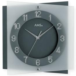 AMS Wanduhr 9323 Quarz Mineralglas auf anthrazitlackierter Rückwand - 1