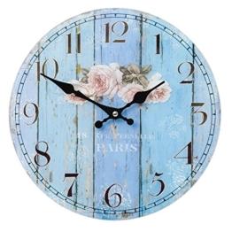 Clayre & Eef 6KL0305 Uhr Wanduhr blau PARIS ca. Ø 30 x 4 cm - 1