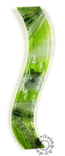 Design Wanduhr aus Glas grün verde - Designer Glasuhr - Sehr Hochwertig - Handarbeit - Exklusives Unikat - Größe 50x8cm - 1