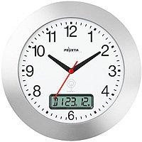Funkwanduhr mit Datum, ø 300 mm, silber - 1