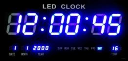 Große LED Uhr Wanduhr Datum Temperatur Anzeige Digital Datum Bar Cafe Blau JH4622 - 1