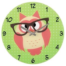 Hama Wanduhr Eule mit Brille aus Glas (geräuscharm, leises Ticken) grün - 1