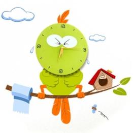 Hipkid Kinder Wanduhr Wanddekoration Kinderzimmer mit Wandtattoo - Vogel - 1