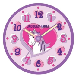 Jacques Farel Kinder Wanduhr in 3D Optik – Einhorn/Pferd/Pony - 1