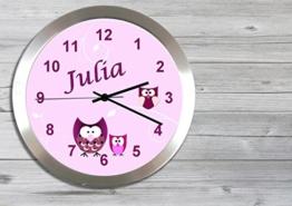 Kinder Funkuhr Wanduhr Kinderuhr Kinderzimmer Uhr mit Namen personalisiert leise Eule - 1