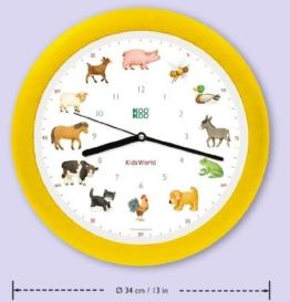 KooKoo Kidsworld Kinderwanduhr gelb - 1