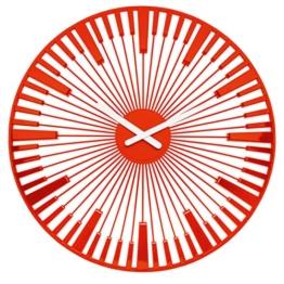 Koziol Piano Wanduhr, Uhr, Quarzuhrwerk, Dekoration, Orangerot, H 45 cm, 2340633 - 1