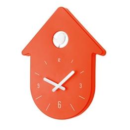 Koziol Toc-Toc Wanduhr, Uhr, Quarzuhrwerk, Dekoration, mit Zeiger, Orangenrot / Weiß, H 30.5 cm, 2329105 - 1