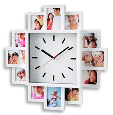levandeo Fotouhr 40x40cm Wanduhr für 12 Fotos - Kunststoff weiß - Fotogalerie Bilderrahmen Bildergalerie Fotocollage Fotorahmen Uhr Bilderuhr - 1
