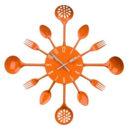 Premier Housewares 2200670 Besteck Wanduhr,orange - 1