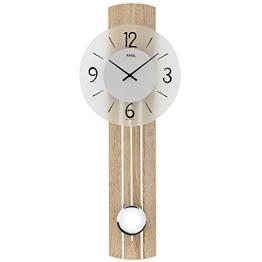trendige moderne Pendeluhr Quarz Wanduhr von AMS Holz Mineralglas Große Zahlen - 1
