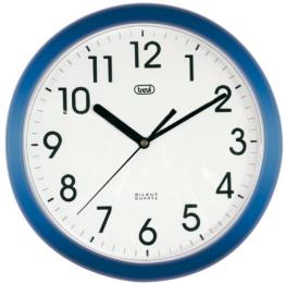 Trevi 3301 - Design-Wanduhr mit Quarzwerk - Kein Ticken - 25cm Durchmesser - Blau - 1