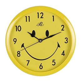 Valdler Stumm Still nicht tickende Wanduhr Rund Smile Dekorative Quarzuhr 8 Zoll Uhr mit arabischen Ziffern Gelb - 1
