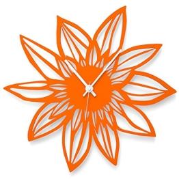 """Wandkings Wanduhr """"Blume"""" aus Acrylglas, in 11 Farben erhältlich (Farbe: Uhr = Orange glänzend; Zeiger = Weiß) - 1"""