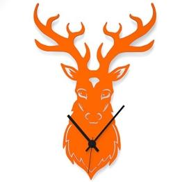 """Wandkings Wanduhr """"Hirschkopf"""" aus Acrylglas, in 11 Farben erhältlich (Farbe: Uhr = Orange glänzend; Zeiger = Schwarz) - 1"""