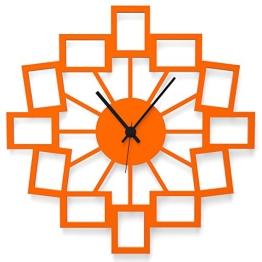"""Wandkings Wanduhr """"Kleine Fotos"""" aus Acrylglas, in 11 Farben erhältlich (Farbe: Uhr = Orange glänzend; Zeiger = Schwarz) - 1"""