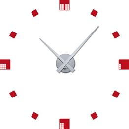 Wandtattoo Uhr Wanduhr mit Uhrwerk für Wohnzimmer modern Abstrakt Quadrate (Uhr Silber//031 rot) - 1