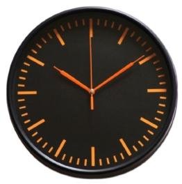 """Wanduhr """"Black"""" Schwarz mit bunten Zeigern und Ziffernblatt orange Deko Uhr Wand Uhren - 1"""