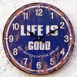 Wanduhr blau Design modern Küchenuhr Wanddeko USA Amerika Pin up Spruch Text Nostalgie nostalgisch bunt Life - 1
