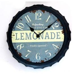 Wanduhr im Kronkorken-Look in Blau mit Lemonade Aufdruck 34cm - 1