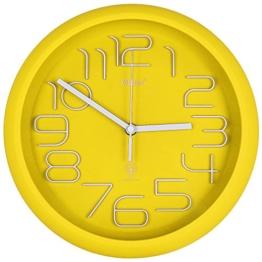 Wanduhr – Küchenuhr – Designer Uhr – Bürouhr – Kinderzimmer Uhr – Funkwanduhr mit Farbauswahl (Gelb) - 1