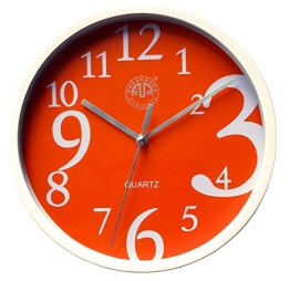 Wanduhr Motiv Ziffern - Chaos. blau. rot oder orange, Uhr moderner Stil, Quartzuhr (orange) - 1