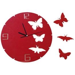 Wunderschöne Wanduhr Dekouhr Wanduhren Wandtattoo Wanddeko Küchenuhr inkl. Schmetterlinge in der Farbe rot von der Marke MyBeautyworld24 - 1
