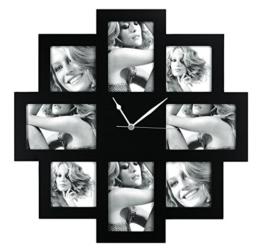 ZEP Taranto Wanduhr mit Bilderrahmen f?r 8 Bilder (4 Fotos mit 10x 15 cm und 4 Fotos mit 10 x 10 cm), schwarz - 1