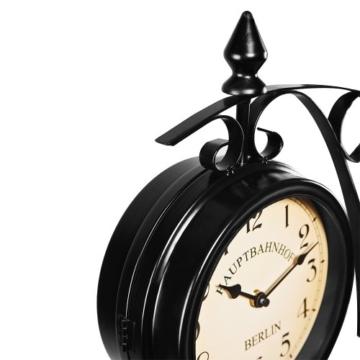 Zweiseitige Bahnhofsuhr - Wanduhr Uhr Retro Antik Stil Quarz schwarz - 3