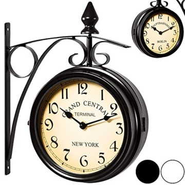 Zweiseitige Bahnhofsuhr - Wanduhr Uhr Retro Antik Stil Quarz schwarz - 1