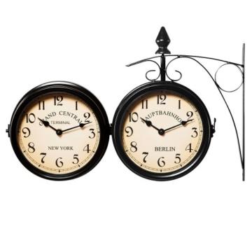 Zweiseitige Bahnhofsuhr - Wanduhr Uhr Retro Antik Stil Quarz schwarz - 5