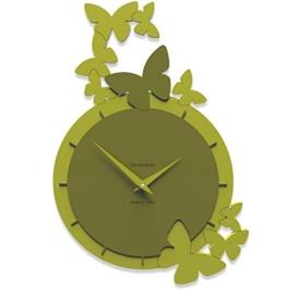 Callea Design Farfalle danzanti Wanduhr mit Schmetterlingen olivgrün - 1