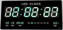Große LED Wanduhr in Grüner LED Beleuchtung Digitale Uhr mit Temperatur Datum Zeit Anzeige - 1