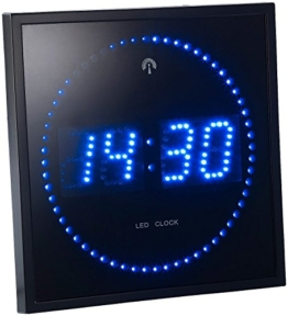 Lunartec LED-Funk-Wanduhr mit Sekunden-Lauflicht durch blaue LEDs - 1