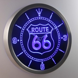 nc0315-b Route 66 Bar Beer Neon Sign LED Wall Clock Uhr Leuchtuhr/ Leuchtende Wanduhr - 1