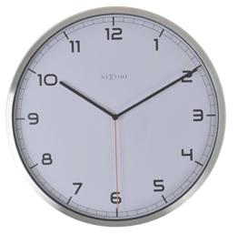 NeXtime Company Wanduhr, Küchenuhr, Uhr, Bürouhr, Wohnzimmeruhr, Deko, Aluminium, Glas, Weißes Ziffernblatt, Ø 35cm, 3080wi - 1