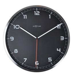 NeXtime Company Wanduhr, Küchenuhr, Uhr, Bürouhr, Wohnzimmeruhr, Deko, Aluminium, Glas, Schwarzes Ziffernblatt, Ø 35cm, 3080zw - 1