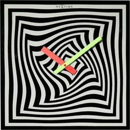 NeXtime Crazy Time Wanduhr, Küchenuhr, Uhr, Bürouhr, Wohnzimmeruhr, Deko, Glas Schwarz Weiß, 43 x 43 cm, 8177 - 1